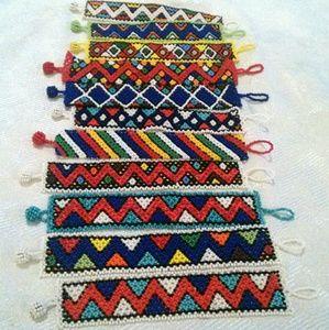 Lot of 11 Woven Daisy Stitch Seed Bead Bracelets